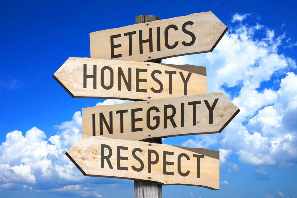 Ethics, honesty, integrity, respect